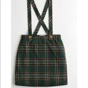 Hollister plaid suspender skirt size small